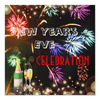 Burbujas del champán de los fuegos artificiales invitación 13,3 cm x 13,3cm