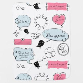 Burbujas del discurso del estilo de la moda del mantitas para bebé