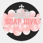 Burbujas del fabricante del jabón de la diva del etiquetas redondas