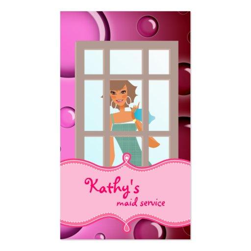 Burbujas del rosa de la tarjeta de visita de la li