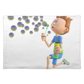 Burbujas que soplan del muchacho del dibujo salvamanteles