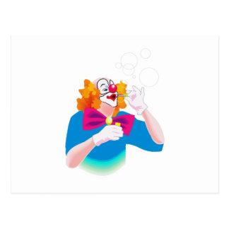 burbujas que soplan del payaso postal