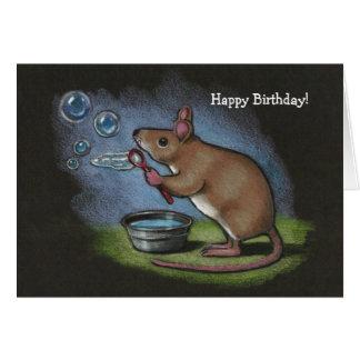 Burbujas que soplan del ratón: Lápiz del color: Tarjeta De Felicitación