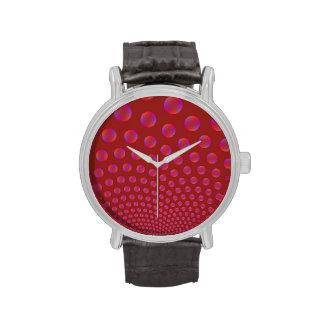 Burbujas violetas y rojas relojes de pulsera