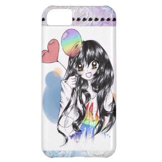 ¡Burbujeante, lindo, chica del animado del arco ir Funda Para iPhone 5C