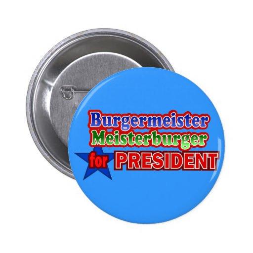 Burgermeister para presidente Christmas Design Pin