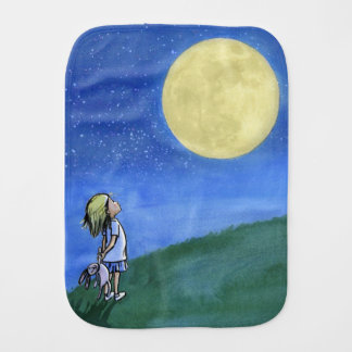 Burp el paño con una niña que mira la luna