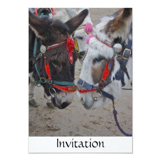Burros en la invitación de la playa