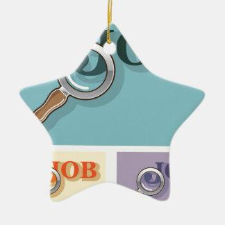 Búsqueda de trabajo bajo illustrat del vector de adorno navideño de cerámica en forma de estrella