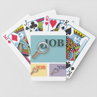 Búsqueda de trabajo bajo illustrat del vector de barajas de cartas