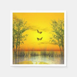 Butterlflies por puesta del sol - 3D rinden Servilleta De Papel