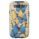 Butterrflies azules y amarillos galaxy SIII carcasas