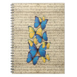 Butterrflies azules y amarillos libro de apuntes con espiral