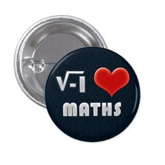 Button I LOVE MATHS Chapa Redonda De 2,5 Cm