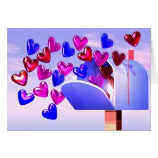 Buzón de los corazones de la tarjeta del día de