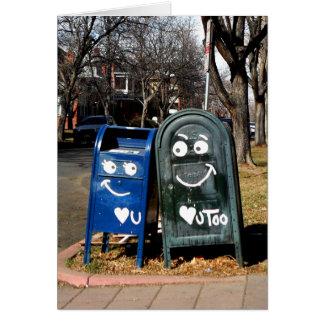 buzones del amor: corazón i usted tarjeta de felicitación
