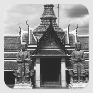 BW Tailandia Bangkok Wat Phra Kaeo 1970 embarazada Pegatina Cuadrada