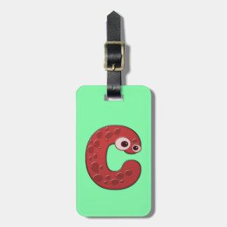 C - monograma animal - etiqueta del equipaje