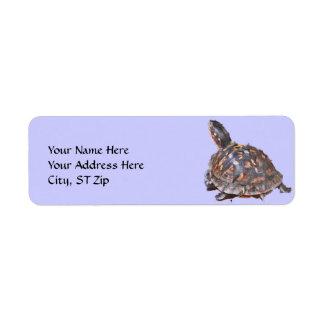 CA etiqueta de dirección de la tortuga de caja.