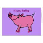 CA tarjeta de felicitación del cerdo del feliz cum
