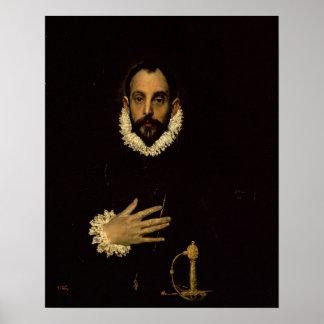 Caballero con su mano en su pecho, c.1580 póster