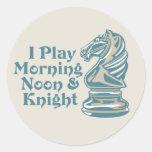 Caballero del ajedrez etiqueta redonda