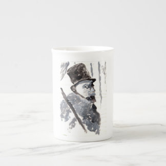 Caballero en chistera en taza negra y gris