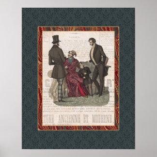 Caballeros de Biedermeier del collage de la moda d Poster