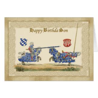 Caballeros medievales del hijo Jousting en por Tarjeta De Felicitación