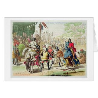 Caballeros que combaten en duelo a pie en un torne tarjeta de felicitación