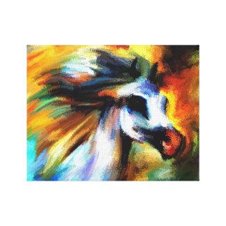 Caballo abstracto blanco del arco iris lienzo