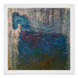 Caballo azul abstracto perfect poster