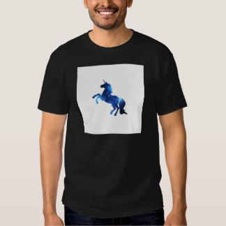 Caballo azul del unicornio del espacio camisetas