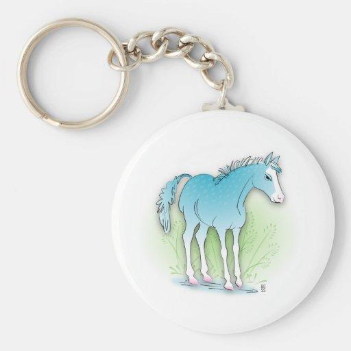 caballo azul llavero personalizado