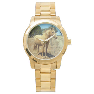 Caballo-Belleza, _Ladies_Large_Unisex_Gold_Watch Reloj De Pulsera