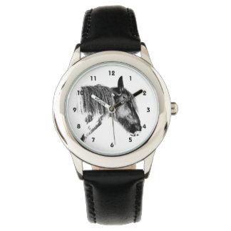 Caballo blanco y negro reloj de pulsera