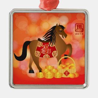 Caballo chino del zodiaco del Año Nuevo 2014 con l Ornamento De Reyes Magos