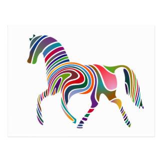 Caballo Color-Rayado del arco iris Postal