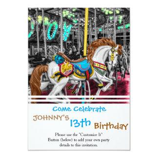 Caballo colorido del carrusel en el carnaval invitación 12,7 x 17,8 cm
