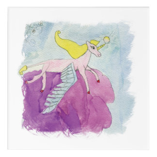 Caballo con alas potro de Alicorn de la acuarela Impresión Acrílica