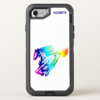 Caballo corriente del arco iris con el rastro del funda OtterBox defender para iPhone 8/7