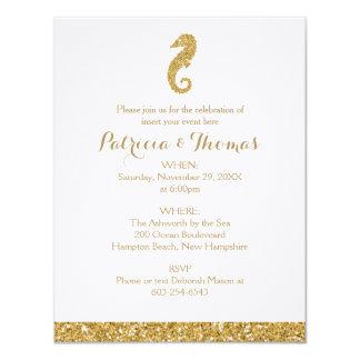 Caballo de mar de las invitaciones el | del oro invitación 10,8 x 13,9 cm