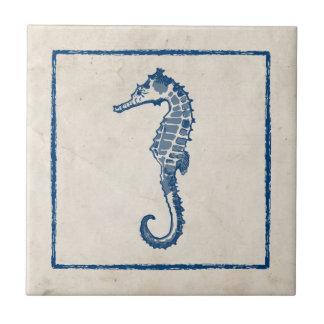 Caballo de mar del vintage azulejo cuadrado pequeño