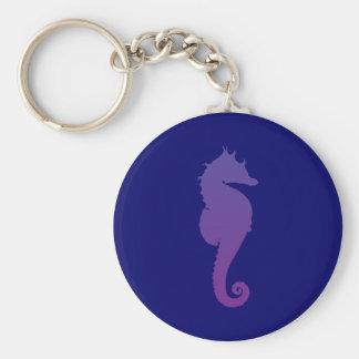 Caballo de mar mágico púrpura llavero redondo tipo chapa