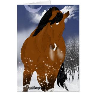 Caballo del árabe del invierno tarjeta de felicitación