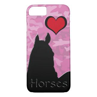 Caballo del corazón I (camo rosado) Funda iPhone 7