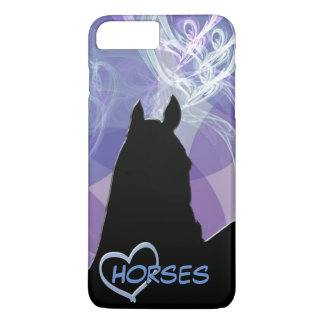 Caballo del corazón I (Fractual púrpura) Funda iPhone 7 Plus
