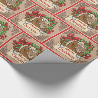 Caballo del dibujo animado con la muestra de las papel de regalo