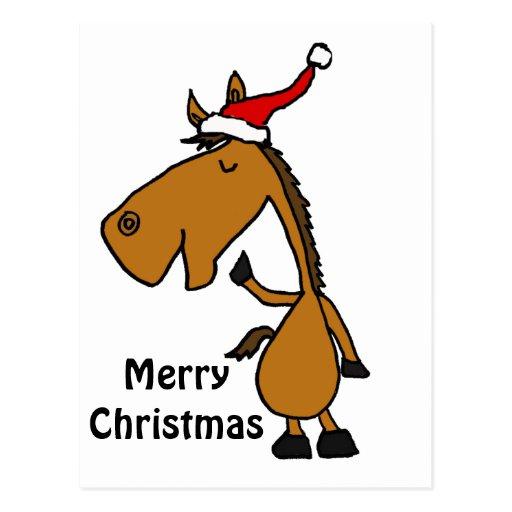 Caballo divertido en arte del navidad del gorra de postal