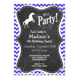 Caballo en Chevron violeta azul; Ecuestre Invitación 12,7 X 17,8 Cm